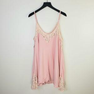 TOBI Baby Pink Lace Accent Slip Dress